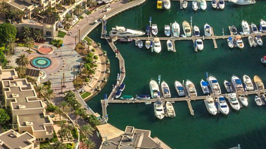Close cropped image of city marina